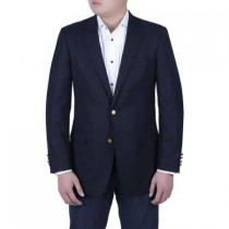 Men's Navy Blue Italian Style Blazer Brass Buttons Classic Fit