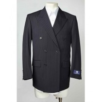Mens Navy Peak Lapel Pinstripe Double Breasted SportCoat Blazer