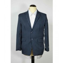 Single Breasted Pinstripe Mens Notch Lapel Navy Blue Blazer