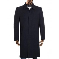 Mens Gray Zip Up Closure Knee Length Collared Jacket Wool Coat