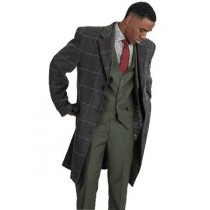Mens Stacy Adams Single Breasted Windowpane Gray Overcoat
