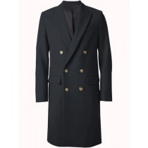 Mens Overcoat Double Breasted Top Coat ~ Wide Peak Lapel 6 buttons Charcoal Coat
