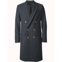 Mens Overcoat Double Breasted Top Coat~Wide Peak Lapel six buttons Dark Grey Coat
