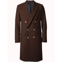 Mens Overcoat Double Breasted Top Coat ~ Wide Peak Lapel six buttons Dark Brown Coat - Ankle Length Coat