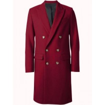 Mens Overcoat Double Breasted Top Coat ~ Wide Peak Lapel six buttons Burgundy Coat