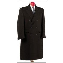 MENS BLACK OVERCOAT DOUBLE BREASTED TOP COAT SIX BUTTON LINED LONG COAT - WOOL FABRIC - Ankle Length Coat