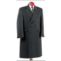Double Breasted Mens Dress Coat Wool Blend  Overcoat Dark Grey - Ankle Length Coat