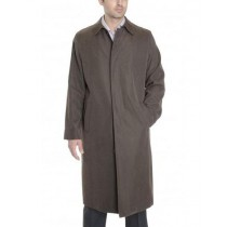 Mens Button Closure Long Sleeve Big & Tall Trench Coat Bark Brown