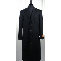 Mens Black 4 Button Wool Blend Single Breasted Bravo Top Overcoat