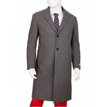 Mens Single Breasted Center Vent Gray Regular Fit Overcoat