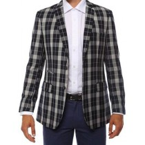 Ferrecci Mens two Button Plaid Slim Fit Navy Blazer Dinner Jacket