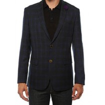 Ferrecci Mens two Button Plaid Slim Fit Purple Blazer Dinner Jacket