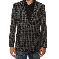 Ferrecci Mens two Button Plaid Slim Fit Black Blazer Dinner Jacket