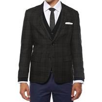 Ferrecci Mens Plaid Slim Fit Charcoal Vested  Dinner Jacket