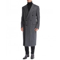 Mens Overcoat Double-Breasted Top Coat Notch Lapel Herringbone Gray Top Coat