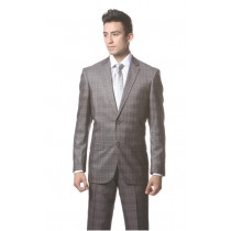 Mens Dark Gray Plaid Slim style Fit Jacket pleat Suit Hamilton
