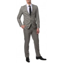 Mens Extra Slim Fitted Skinny Flat Pants Grey Glen Plaid Suit