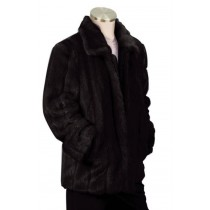 Mens Stylish Faux Fur 3/4 Length Coat winter wardrobe Black