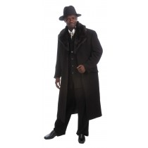 Men's Luxurious Long Maxi Coat Suit Black Fur Lapel