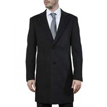 Mens Single Breasted Modern Fit Polyester Spandex Black Topcoat