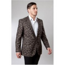Brown Pattern Jacket Side Vents Slim Fit Camouflage Blazer