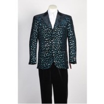 Mens Fashion Paisley Floral Blazer Sport Coat Black Rayon