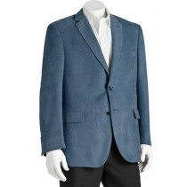 Microsuede Men's  Polyester Double Vent Classic Fit Blue Blazer