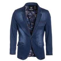 Perruzo Denim Blazer Notch Lapel Slim Fit Navy Sport Jacket