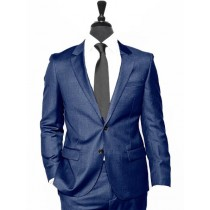 Alberto Nardoni Blue Notch Lapel Wool Suit Overcoat