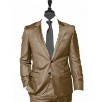 Alberto Nardoni Brown Two Button Wool Suit Overcoat