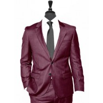 Alberto Nardoni Burgundy Notch Lapel Wool Suit Overcoat