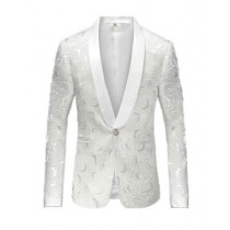 Alberto Nardoni Polyester White Paisley Shawl Sport Jacket
