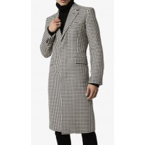 Men's Black & White Houndstooth Single Breasted Coat