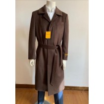 Full Length Overcoat - Wool Belted Topcoat Dark Brown