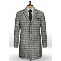 Big Houndstooth BW Tweed Overcoat