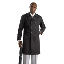 Stylish Black double breasted long rain coat ~ Trench Coat