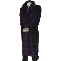 Men's stylish Fur Long Length Black Coat with notch lapel