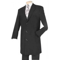 Men's Fully Lined Wool Blend Black Car Coat with side pocket