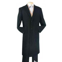 Black Fully Lined Wool Blend 45 inches luxurious Top Coat