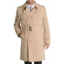 Mens Double Breasted Trench Coat  Full Belt Tan  Peacoat