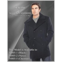 Wool & Cashmere Black Double breasted notch lapel Pea coat