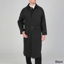 Mens Black Renny Full length Belted Raincoat