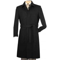 Wool Blended Belted Hidden Button Top Coat Black 51 Inch Long