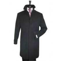 Mens Black Full Length Dress Top Coat / Overcoat