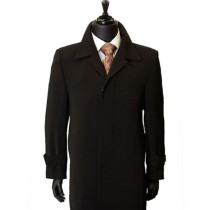 Maxi-Length fully lined black microfiber duster coat