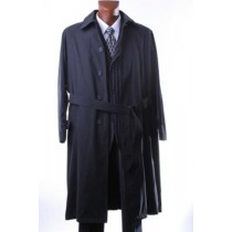 Full Length 4 buttons Black Raincoat-Trench Coat with belt