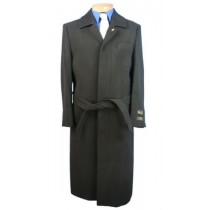 Aero Full Length Belted Wool Blend Topcoat Black