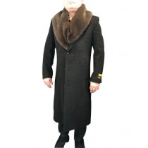 Black Mixed Two Handwarmer Side Pockets Dress Coat For Mens