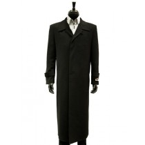 MicroFiber Black Trench Top Long Coat
