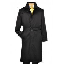 Black Single Breasted full length trench coat with belt